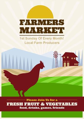 Famers Market Flyer Illustration