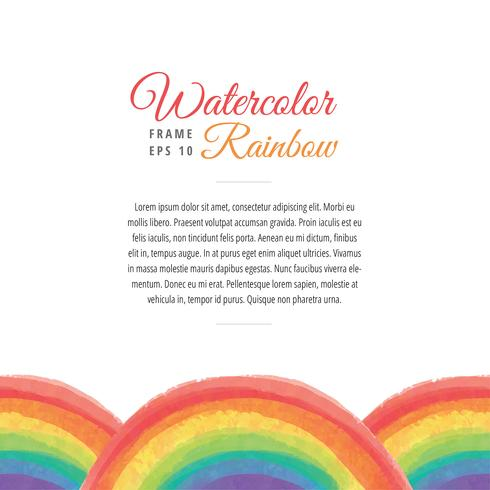 Watercolor Rainbow Frame Template Vector