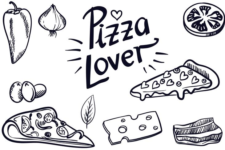 Vecteurs d'amateur de pizza Vintage