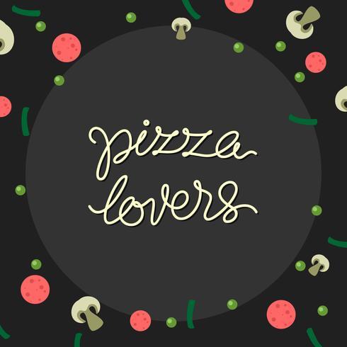 Hand, die Pizza-Liebhaber-Typografie-freien Vektor beschriftet