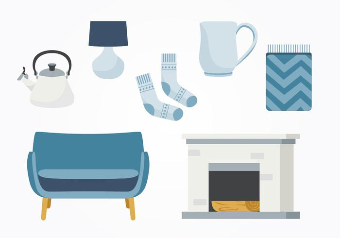 hygge essentials decoration vector pack