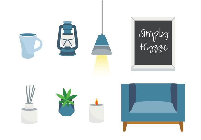 Hygge Essentials Dekoration Vektor Pack