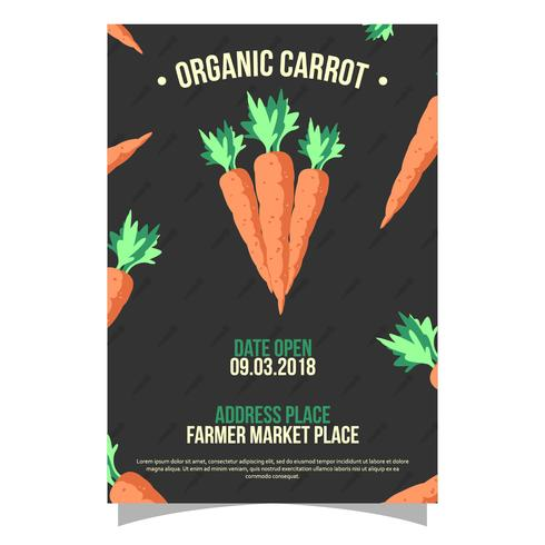 Organic Carrot Farmers Market Flyer Vector