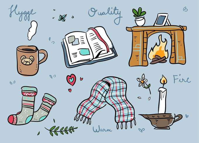 Hygge Stuff Hand Drawn Doodle Vector Illustration