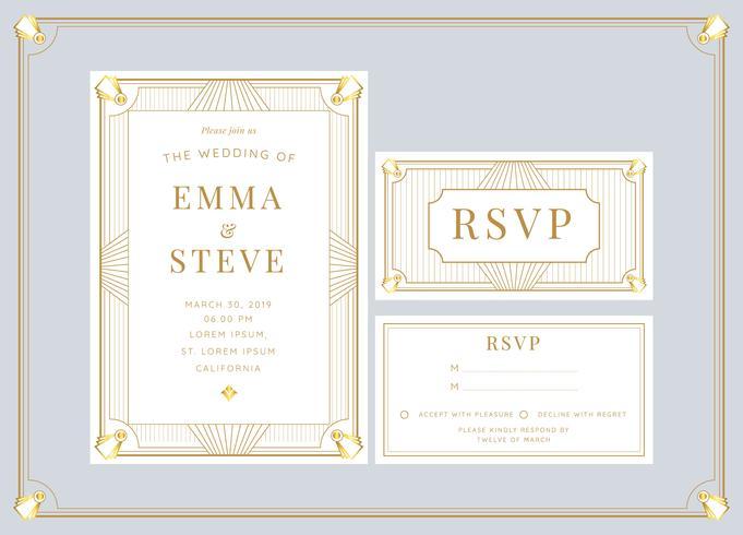White gold art deco wedding invitation template vector download white gold art deco wedding invitation template vector stopboris Choice Image