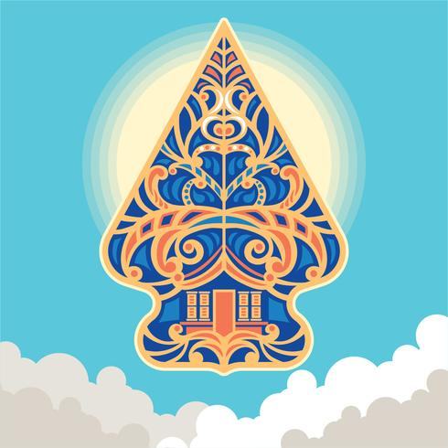 Ilustración de vector Wayang Gunungan de Indonesia