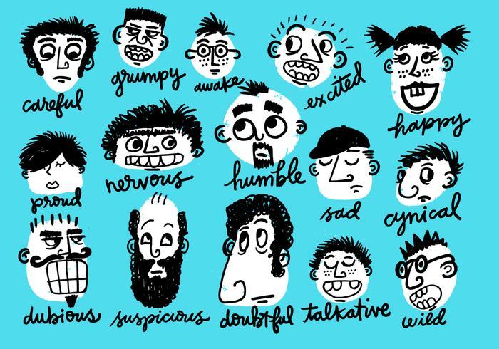 visages de caractère émotionnel