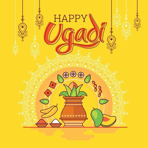 Feliz Ugadi. Tarjeta de felicitación de la plantilla Comida india festiva tradicional. Estilo minimalista