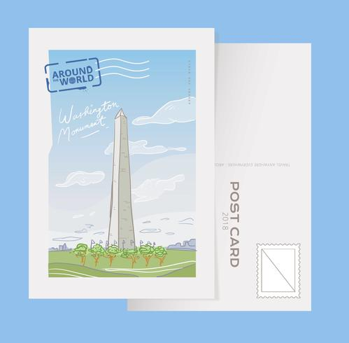 Washington Monument Landmark Vykort Vector Illustration