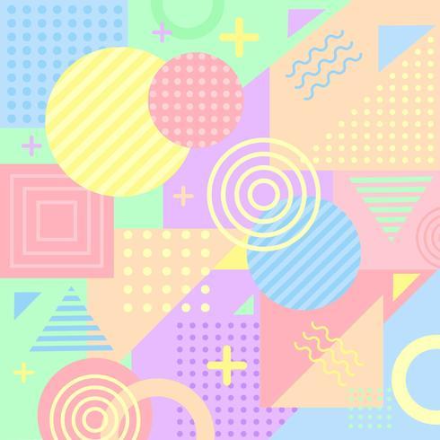 Färgglada Pastell Memphis Bakgrund