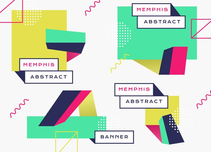 Abstract Geometric Memphis Banner Background Vector Flat
