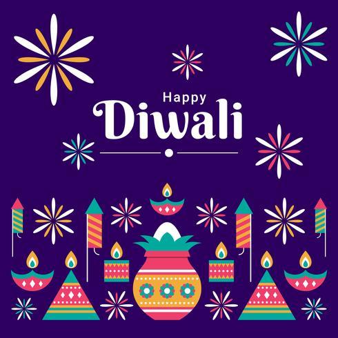 Conjunto de elementos de diseño hindú de Diwali Festival