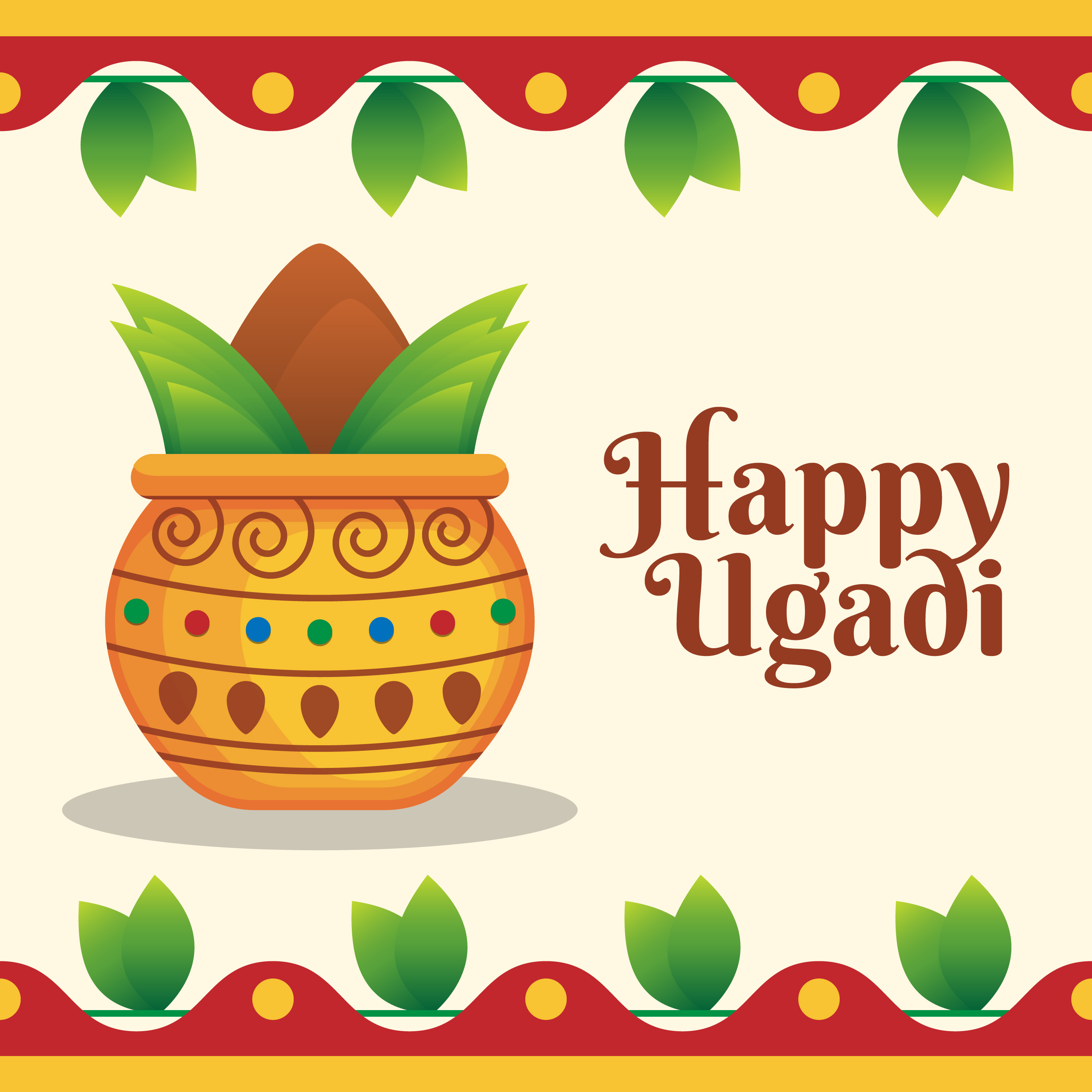 Happy Ugadi Greeting Card For Holiday Templates Download Free