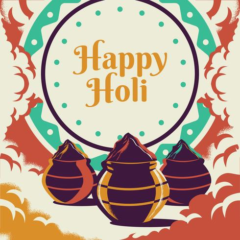 Happy Holi Festival With Colorful Gulaal Of Colors Greeting Elements
