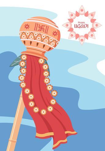 Happy Ugadi Vector Illustration