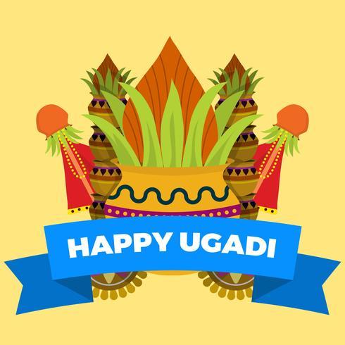 Flache Ugadi-Vektor-Illustration