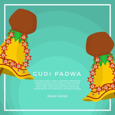 Flat Gudi Padwa Vector Illustration