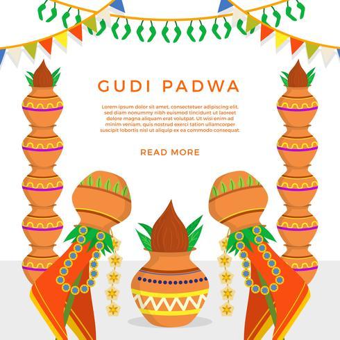 Flache Gudi Padwa-Vektor-Illustration