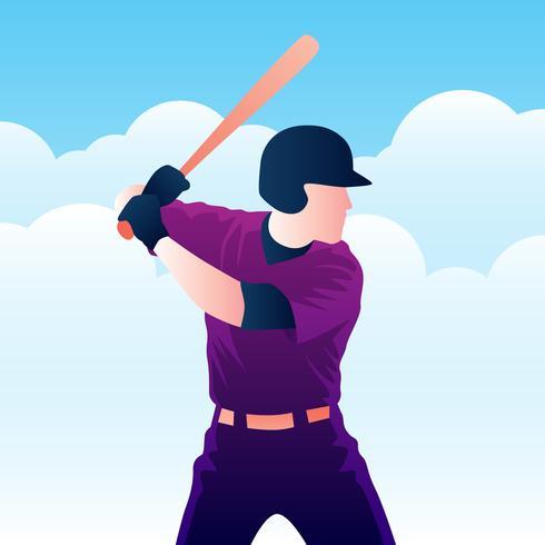 Ilustración de bateador de jugador de béisbol