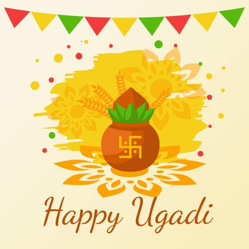 Happy Ugadi. Hindu New Year Vector