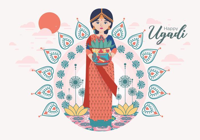 Vecteur de Ugadi Vol 2 heureux