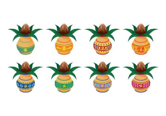 Stellen Sie Vektorillustration von Kalash mit Kokosnuss und Mango Leaf ein