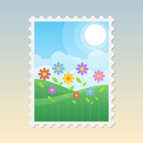 Illustrazione di francobolli di primavera vintage