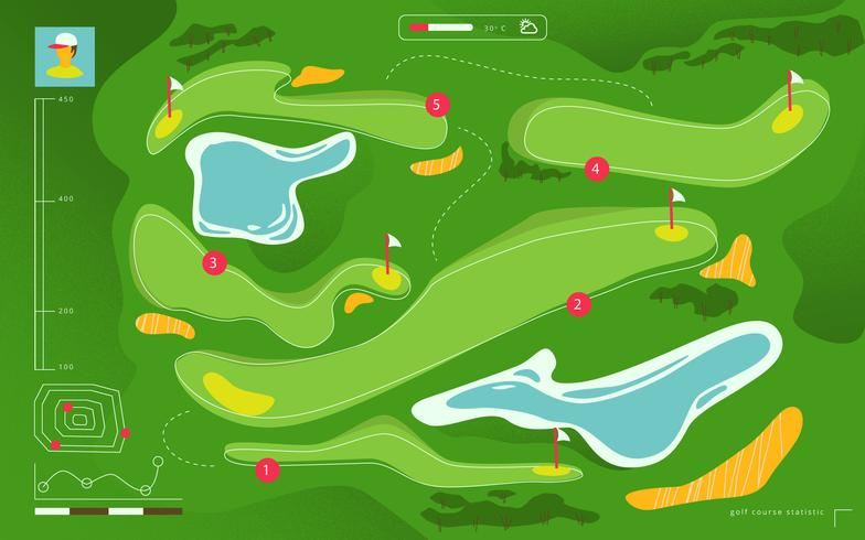 Vue aérienne de terrain de golf Carte de tournoi vectorielle plane Illustration