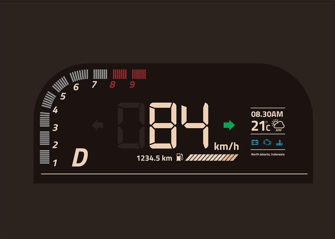 Coche Dashboard UI digital Vector