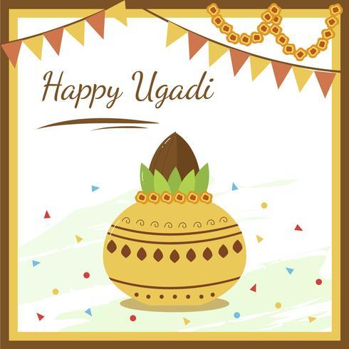 feliz ugadi, vacaciones en vector de india