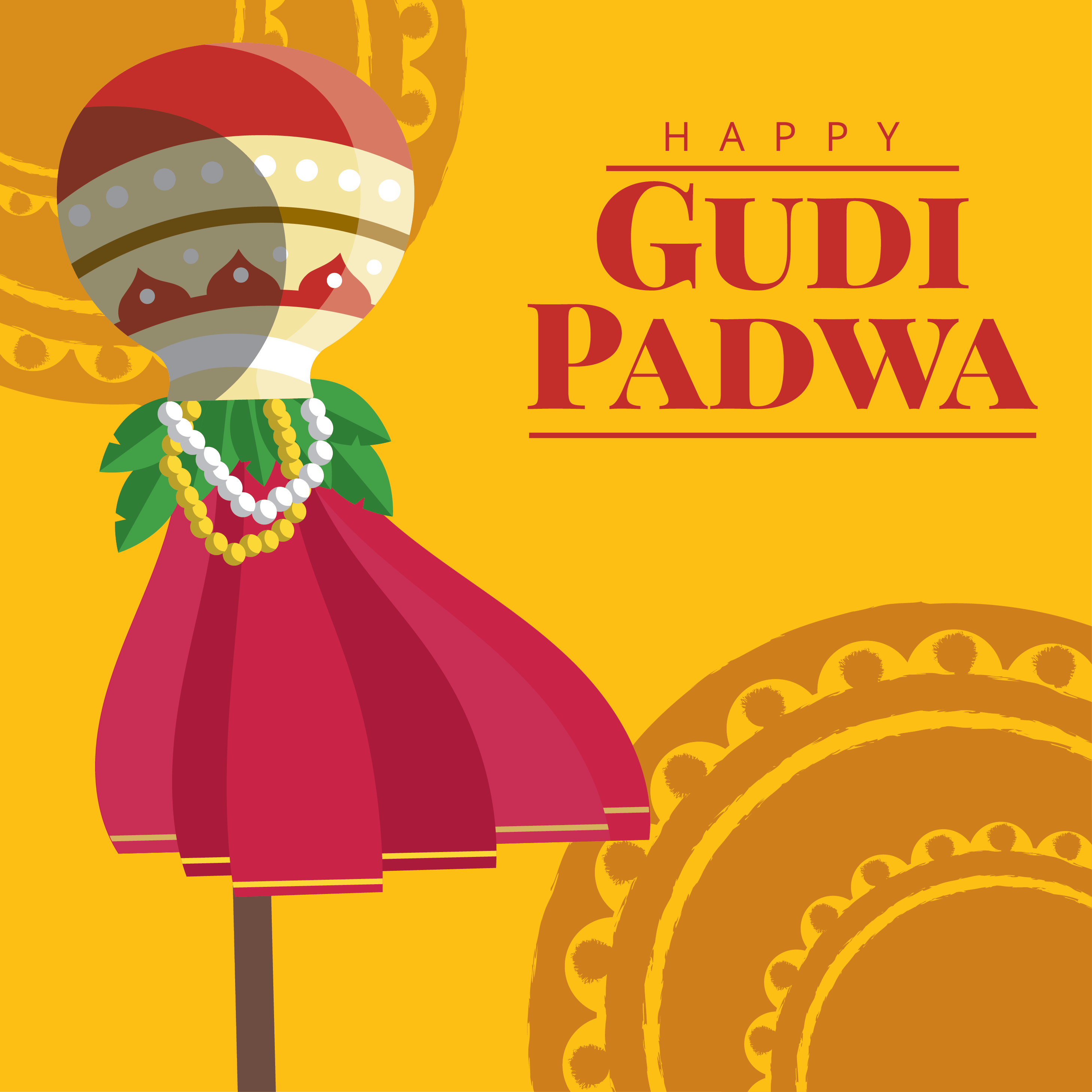 Gudi Padwa Greeting Card Download Free Vector Art Stock Graphics
