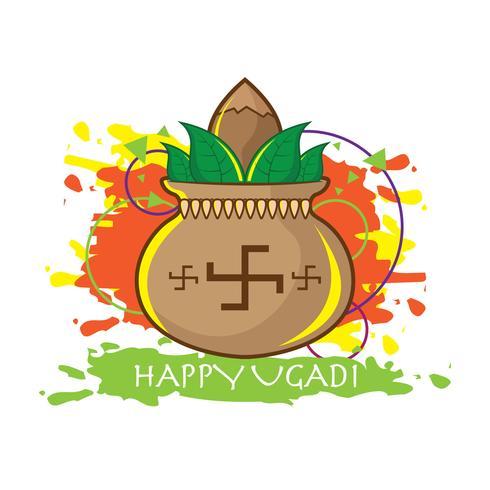 Décoration de vecteur Ugadi heureux