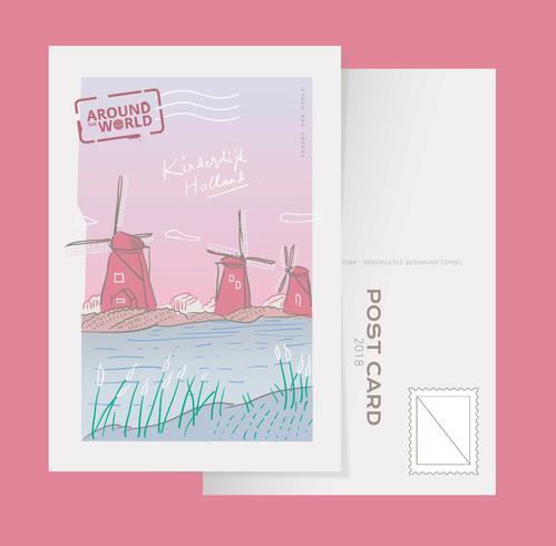 Kinderdijk Holland Landmark Postcard Vector Illustration