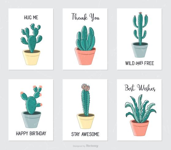 Hand Drawn Cactus And Succulents In Flower Pots