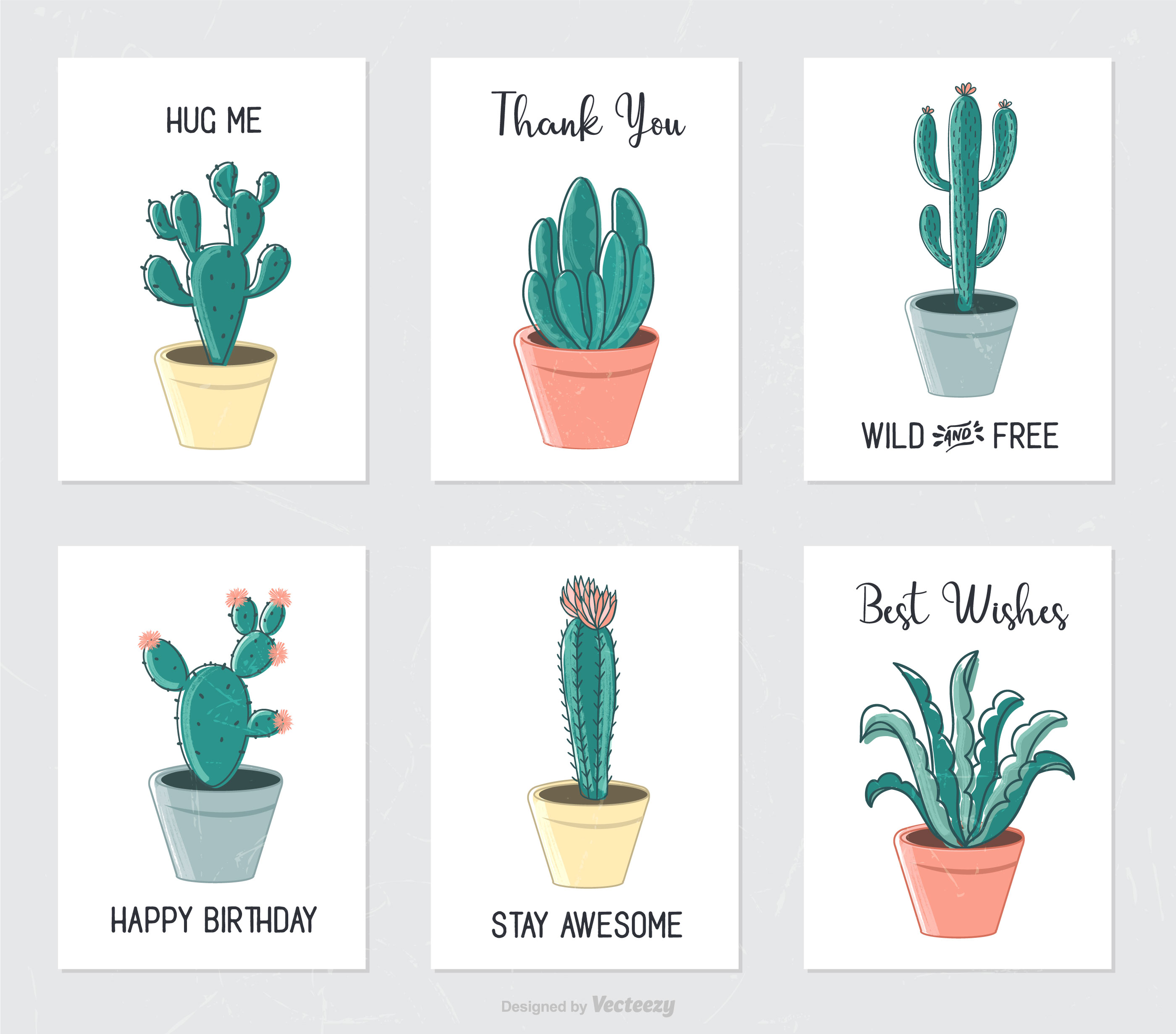 Hand Drawn Cactus And Succulents In Flower Pots Download