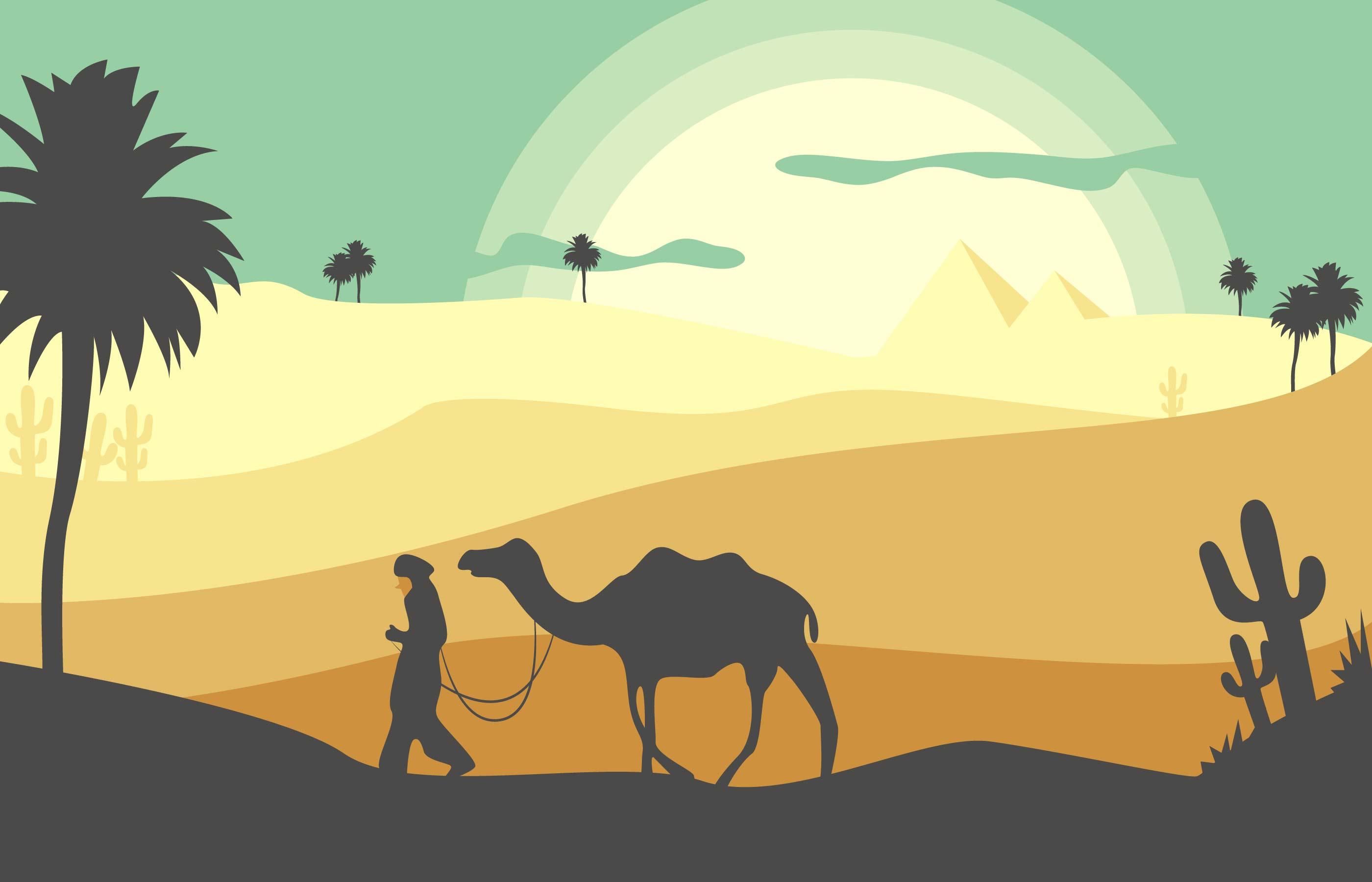 Landscape Illustration Vector Free: Desert Landscape Flat Illustration Vector