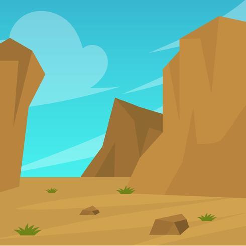 Flacher Wüsten-Landschaftsvektor-Hintergrund