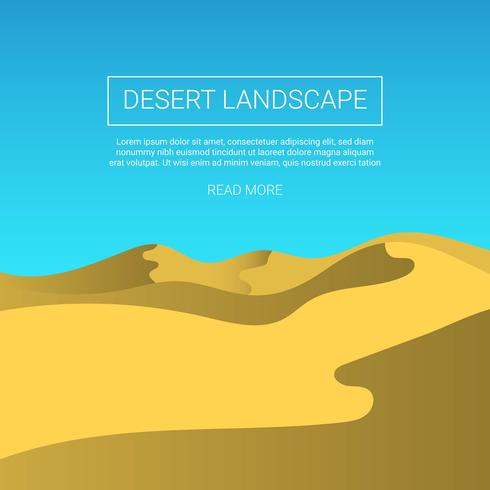 Flat Desert Landscape Vector Background