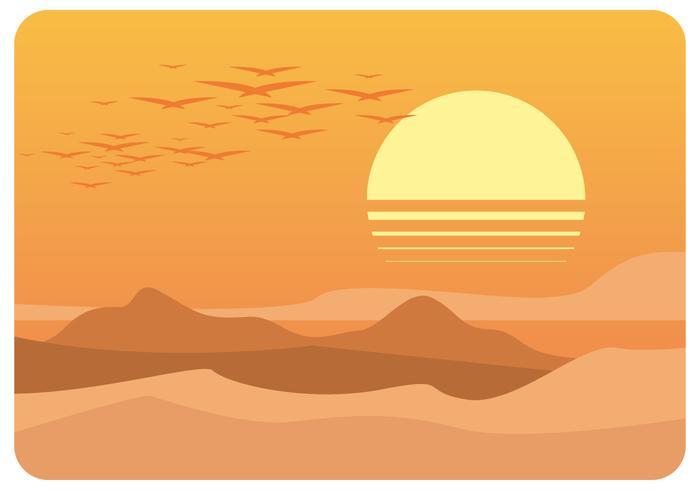 Vecteur de paysage désertique de l'après-midi