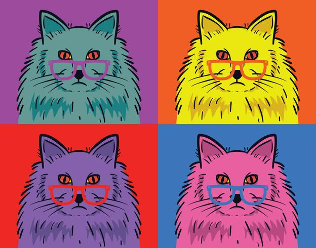 Vecteur de pop art de chat