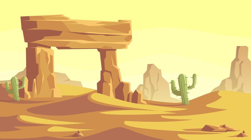 Stone Gate In The Desert Landscape Vector