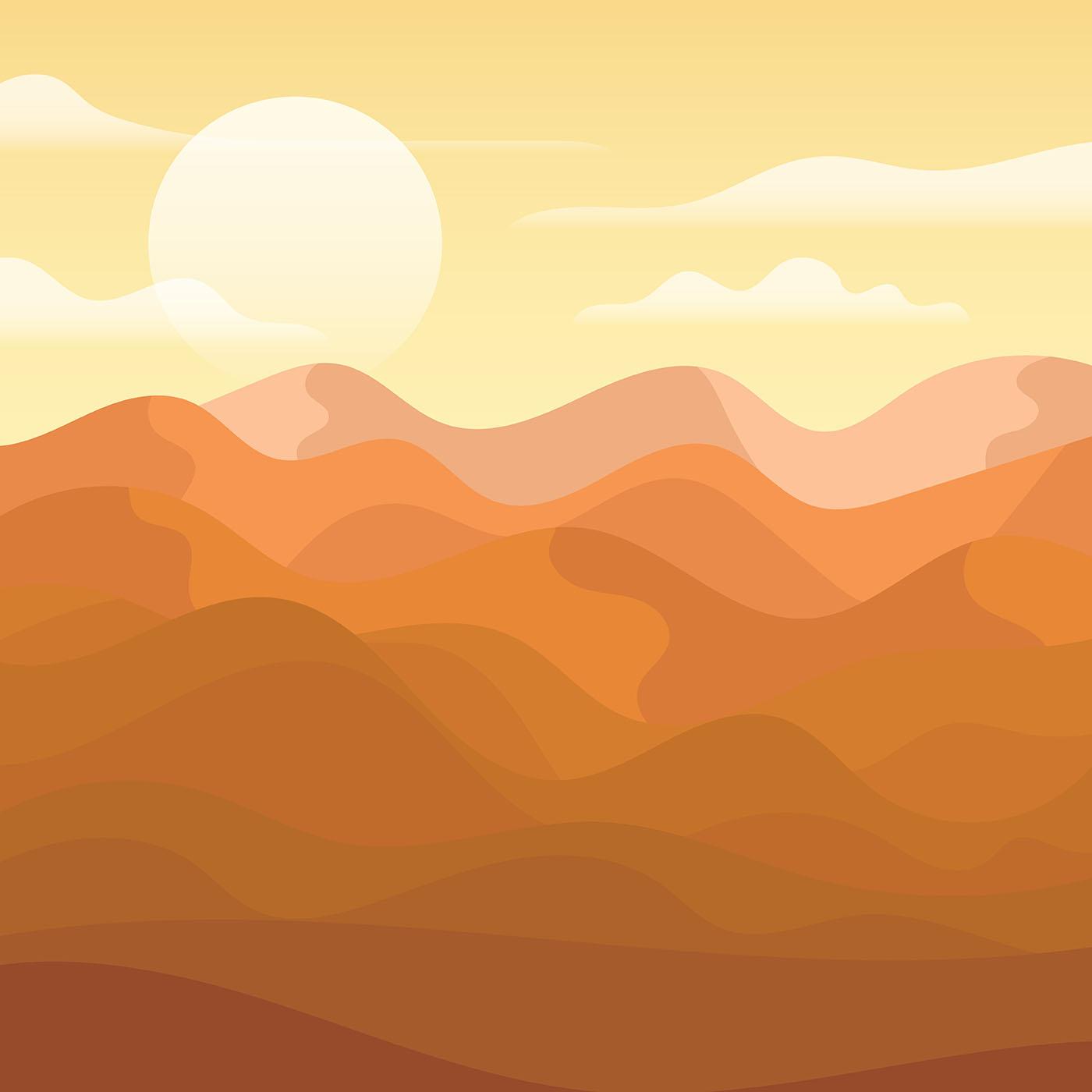 Landscape Illustration Vector Free: Desert Landscape Illustration