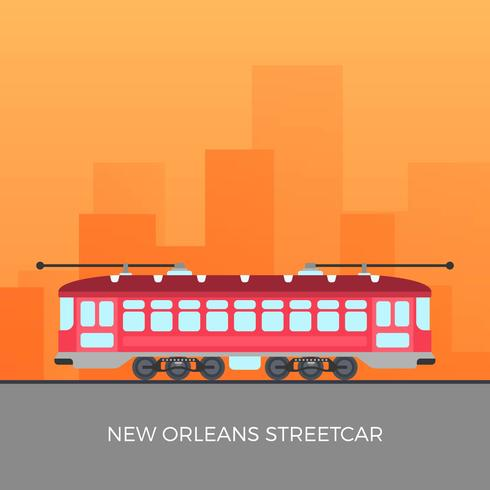 Flat New Orleans Streetcar Vector Illustration
