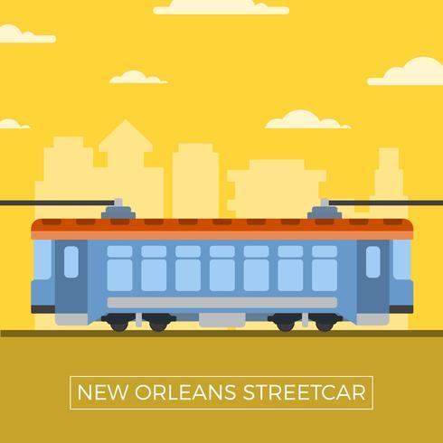 Flat New Orleans Streetcar Vector Illustration