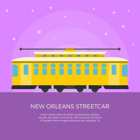 Flache New Orleans Streetcar-Vektor-Illustration