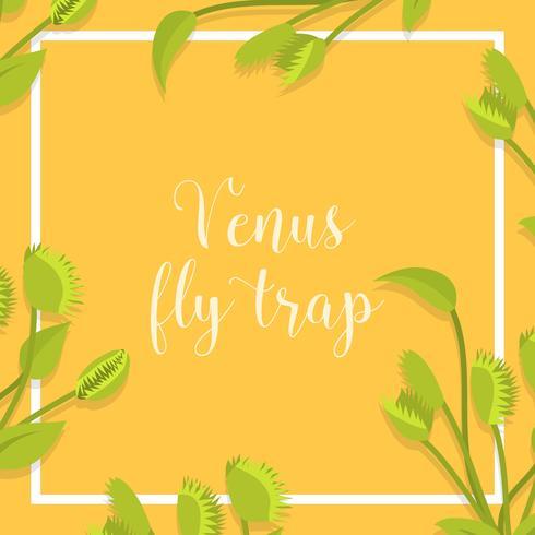 Flat Venus Fly Trap Vector Illustration