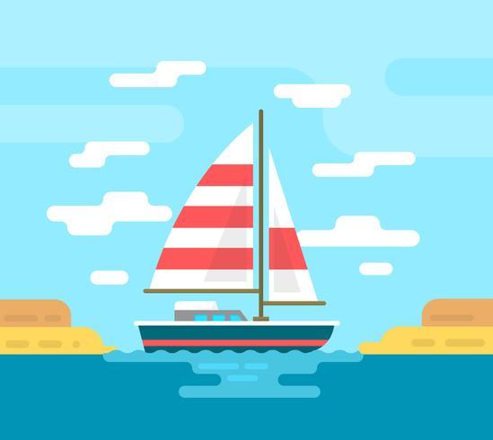 Platte boot illustratie