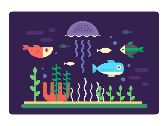 Flat Sea Life vector