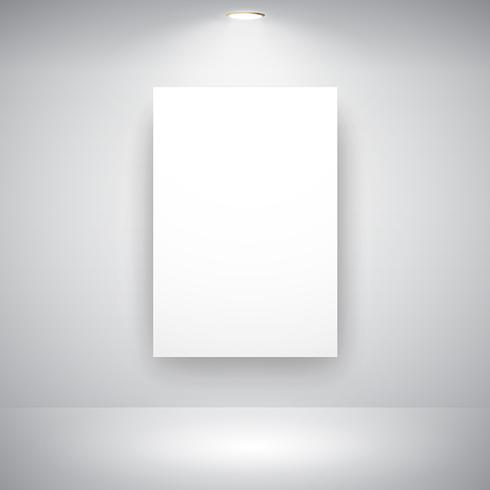 Empty Frame On Wall With Light Bulb