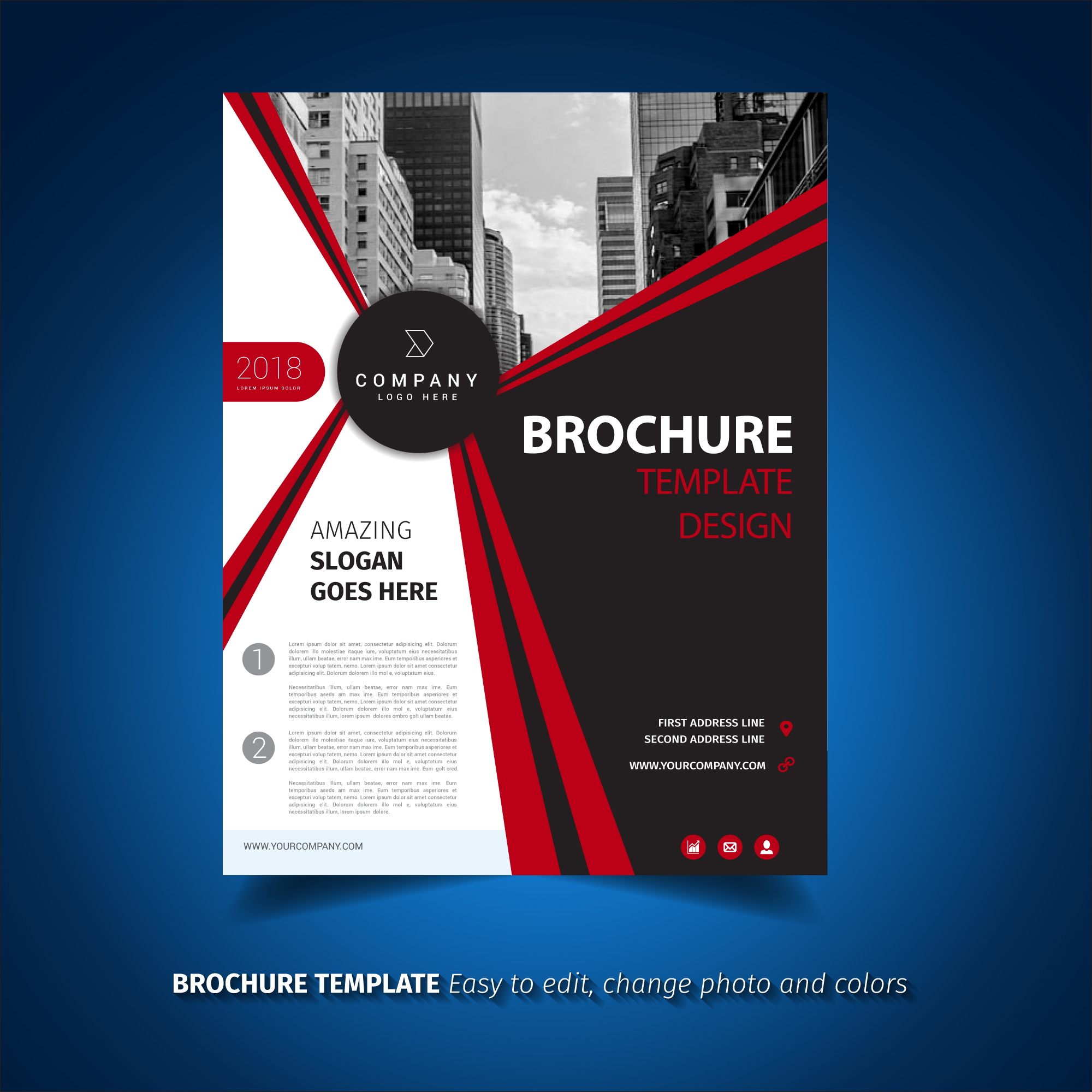 Red and black brochure template download free vector art for Black brochure template